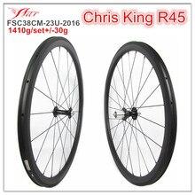 Great performance !!! King carbon road wheelsets 38mm 25mm aero U shape, black Chris King R45 hub and Sapim aero spokes, 1410g
