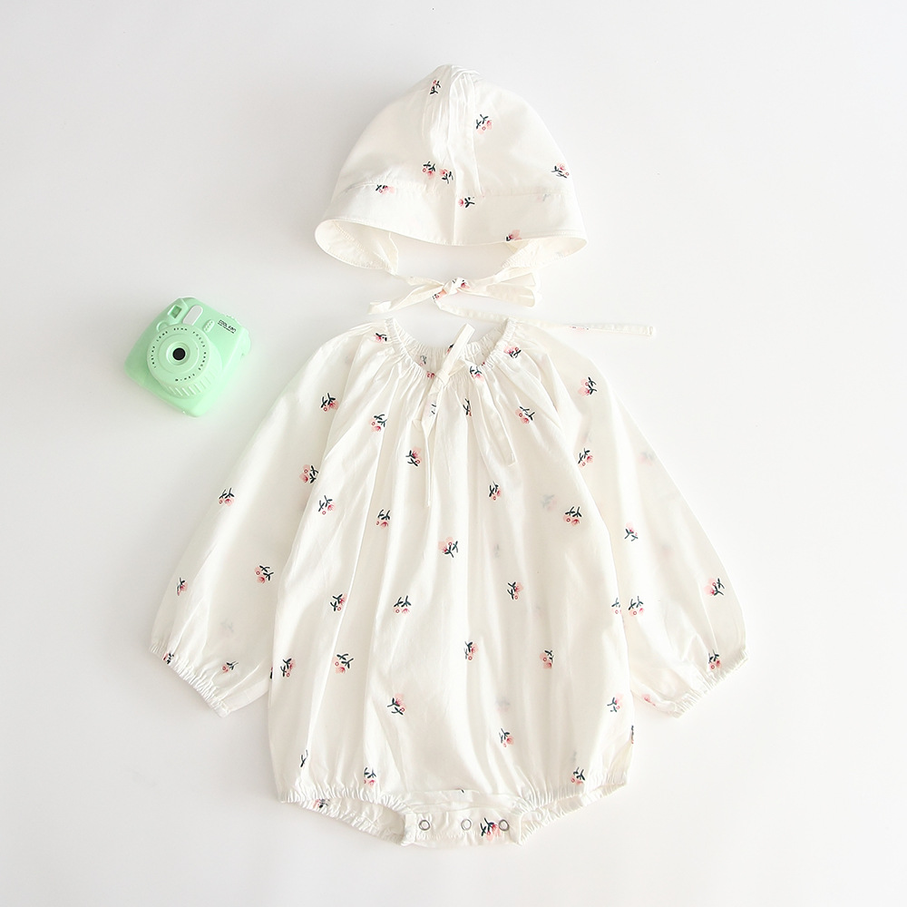 2019 Spring Newborn Infant 2pcs Baby Rompers+Hat Cotton Long Sleeve Jumpsuit Play Suit For Baby Girl Fashion Baby Girl Clothes