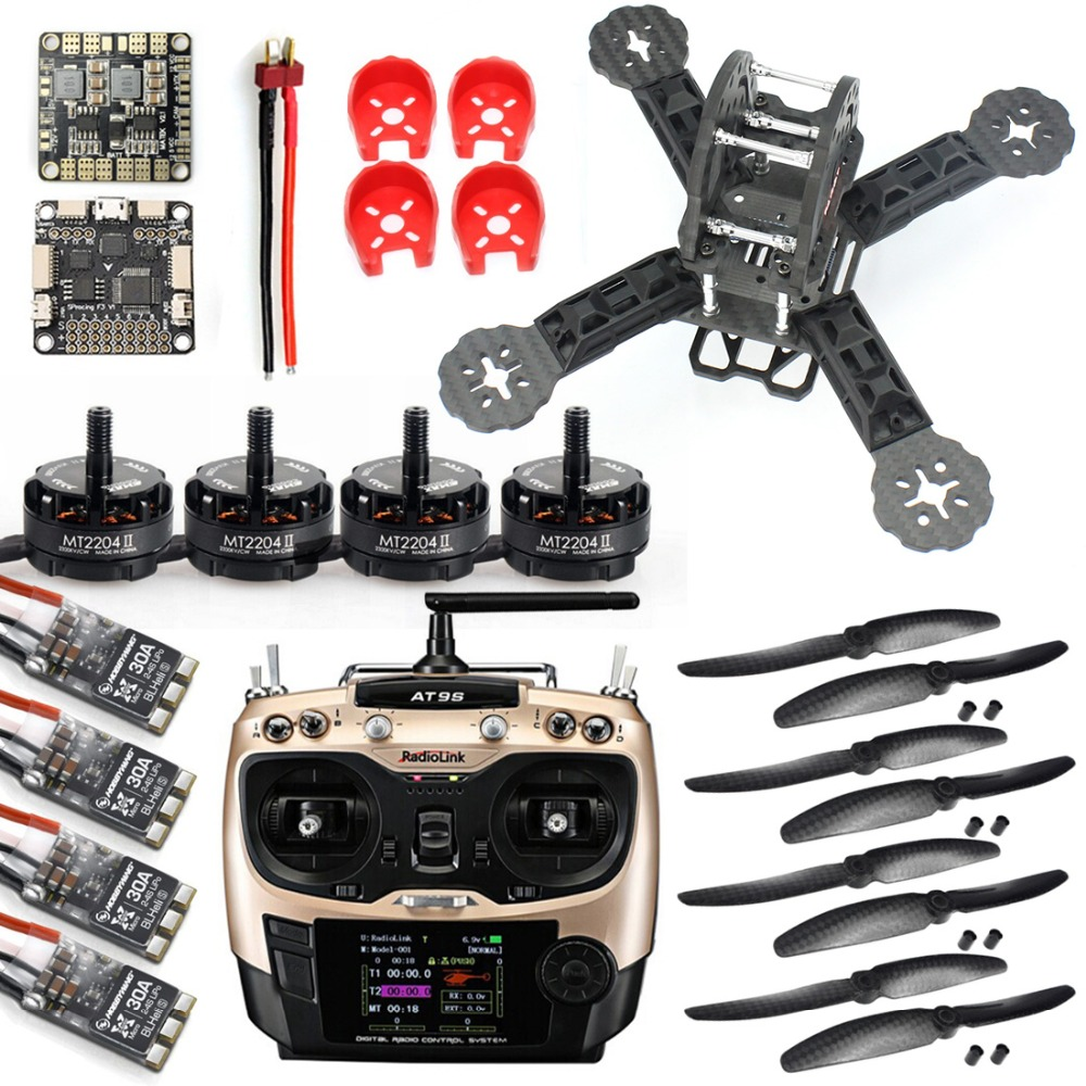 DIY Toys RC FPV Drone Mini Racer Quadcopter 190mm SP Racing F3 Deluxe Flight Controller Radiolink AT9S Remote Control jmt diy racer 250 fpv rtf drone with sp racing f3 flight controller ccd camera radiolink at9s tx