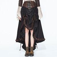 Панк Для женщин полосатые юбки Готический тонкий черный высокий низкий Асимметричные юбки черные повязки длинное макси юбки