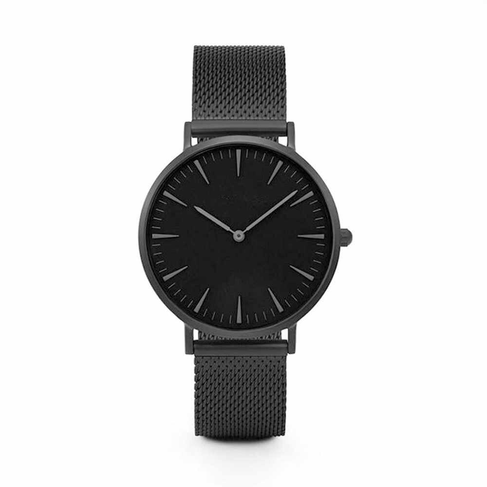 Erkekler kadınlar moda paslanmaz çelik kayış Analog kuvars kol saati lüks basit tarzı tasarım bilezik saatler kadın saat