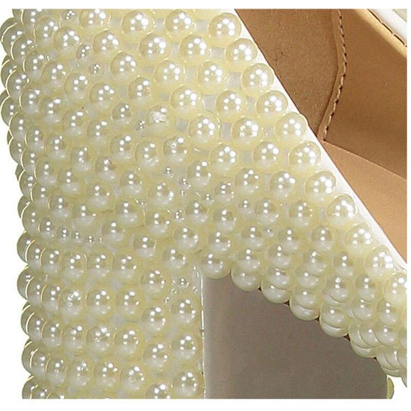 Pointu Bout À Dame Mariage 41 Chunky Perle Taille Mariée Hauts Drfargo Chaussures 20170636 Apricot Élégante Pompes Femelle Talons De Femmes PBScxq