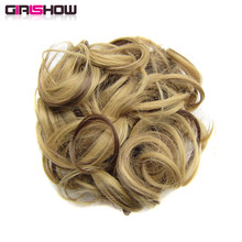 Girlshow Wave Synthetic Hair Bun Hair Extensions Q6 elastic Hairpiece 34 colours available 60g/pc(China)