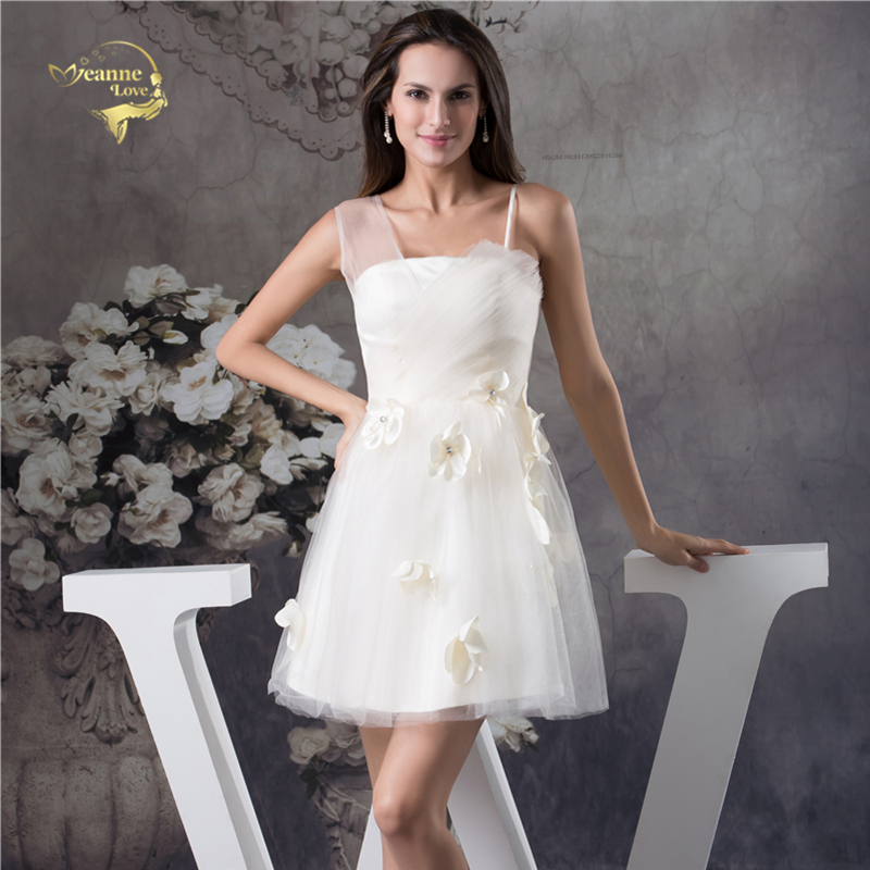 Jeanne Love Sexy Tulle Short   Cocktail     Dress   2019 Hand Made Formal Ivory Crystals Mini Wedding Party   Dress   Plus Size JO002938