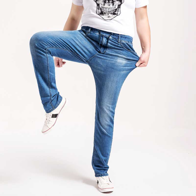 2017 Spring Summer Mens Plus Size Jeans Thin Light Blue Denim Pants High Waist Stretch Waist Trousers L-6XL new spring and summer mens brand mid waist jeans pants plus size male denim trousers men casual jeans s39