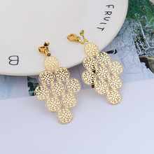 Vintage Long Geometric Rhombus Gold Clip on Earrings for Women Simple Earring Without Piercing for Girls Kid Party Jewelry Gift