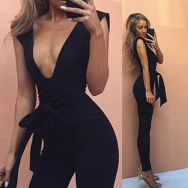 Spring Summer Black Deep V Sexy Bodycon Casaul   Jumpsuit   Nightclub Evening Party Romper For Women