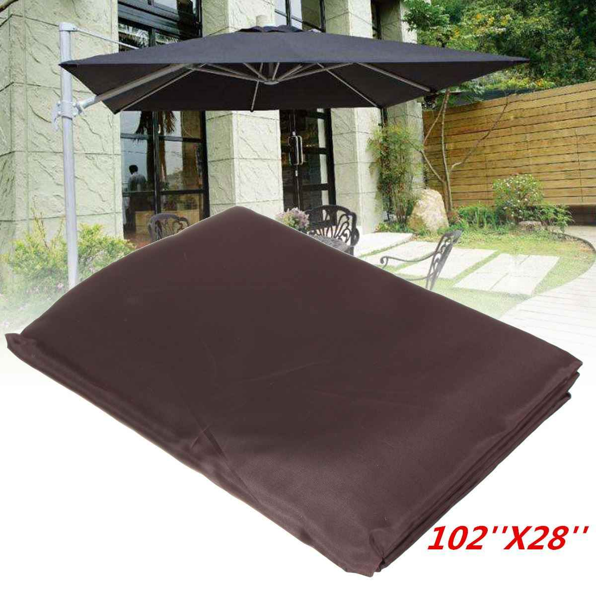 Garden Patio Umbrella Rain Cover Waterproof Polyester Canopy Protective Cover Bag Outdoor Rain Gear Accessories Fit 9-11ft