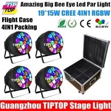 Стекируемые 4in1 Кейс Пакет 350 Вт Большой Пчелы Глаз Привело Номинальной Света Zoom/Вращения Красочные Этап Par Банок Пластиковые крышка ЖК-Дисплей