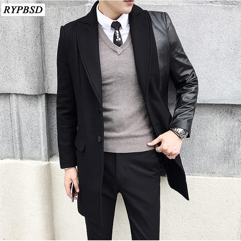 Black Wool Coat Men New Stitching Long Men Coat Korean Fashion Thick Single Breasted Slim Fit Overcoat Winter Men M-XXL