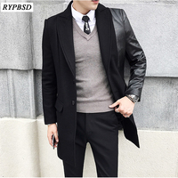 Black Wool Coat Men New Stitching Long Men Coat Korean Fashion Thick Single Breasted Slim Fit Overcoat Winter Men M XXL