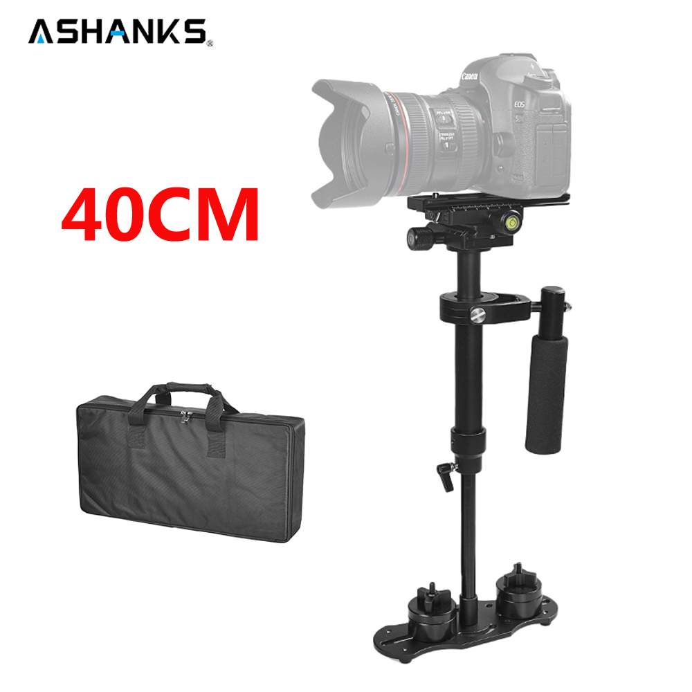 ASHANKS 40 cm/15,7 ''estabilizador S40 Steadicam carga 1,3 kg Handheld Steadycam para cámara DSLR Canon Nikon gopro vídeo DV