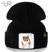 New Animal Beanie Hat BUTCH Embroidered Brand Casual Beanie For Men Women Knitted Winter Hat Solid Hip-hop Hat Unisex Bonnet Cap цена
