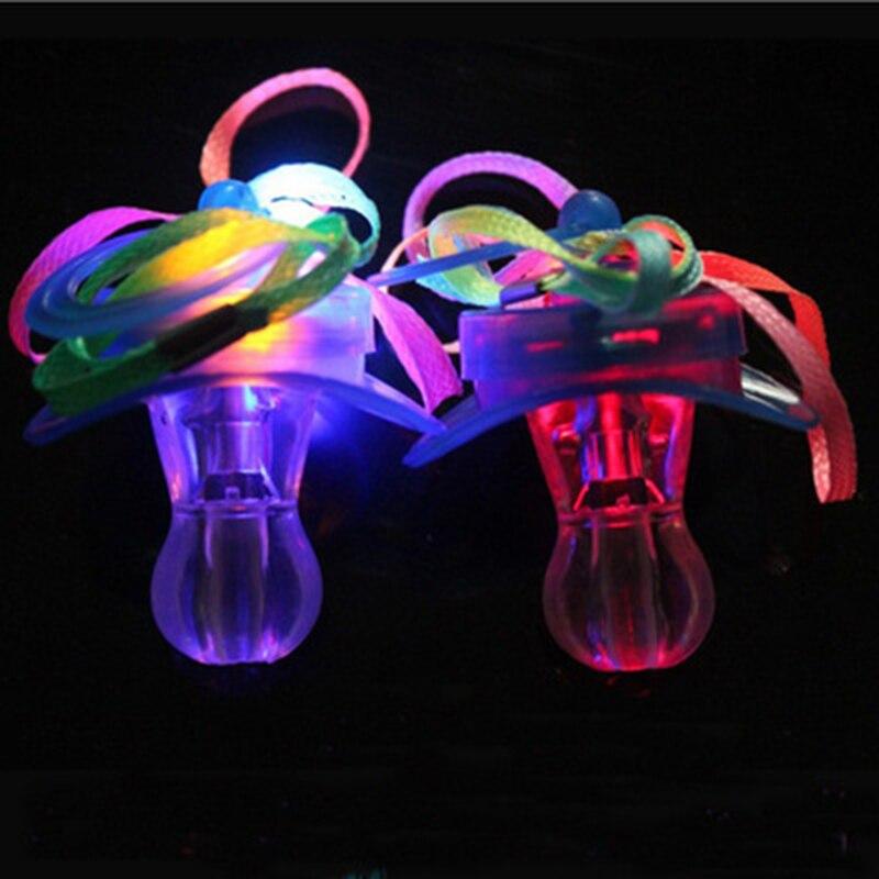 Quadruple Colorful Led Flashing Pacifier Soft Light Up Toy Necklace Glowing Flashing Whistle Holiday Novelty Christmas Light Toy