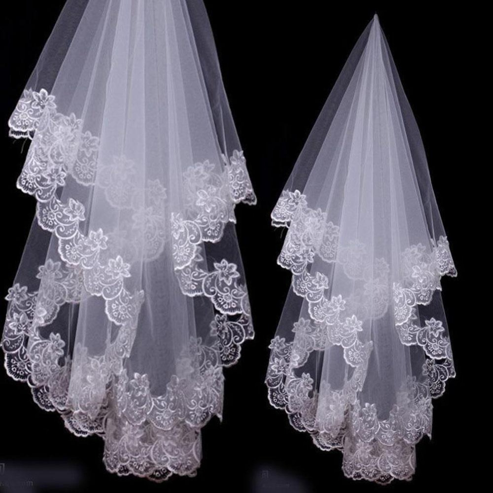 Купить с кэшбэком 1 Layer white Ivory Applique Elbow Length Lace Edge Wedding Bridal Veil without Comb