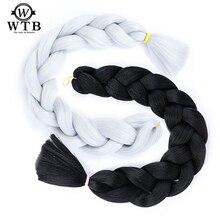 WTB 80 цветов синтетический Омбре красочное крупное плетение волос 100 г/упак. 24 дюйма цветные вязанные волосы
