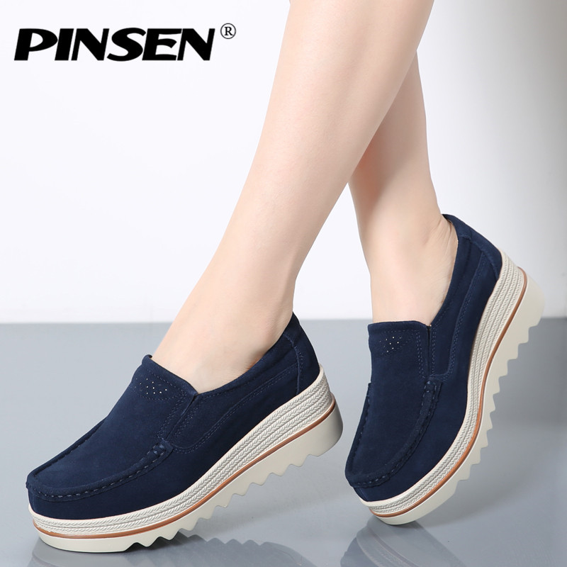 PINSEN 2019 Spring Autumn Women Flats Shoes Thick Soled Platform Shoes   Leather     Suede   Casual Shoes Slip On Flat Creepers Moccasin
