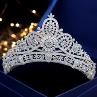 Jonnafe Luxury Full Zirconia Tiara Crown For Wedding Prom Bridal Hair Accessories Headpiece Women Tiaras and Crowns