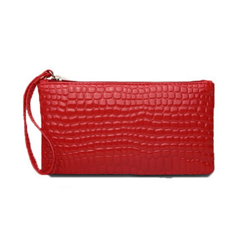 Hot, women wallets 19* 11cm bright skin soft surface change clutch bag female fashion crocodile