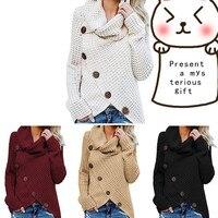 Для женщин; Большие размеры пуловер, водолазка, свитер черный knitsweaters теплые свитера с длинным рукавом Свободные Обёрточная бумага Асимметр...