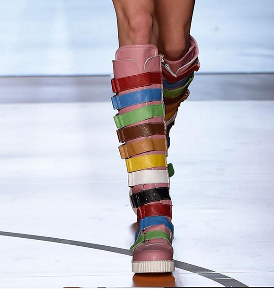 2018 New Rome Gladiator Knee HIgh Zip Women Boots Round Toe Mixed Color Women Flats Shoes Women цены