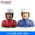 1/4 Scale Pilot Statues/Pilot Portrait Toy (Sam) L115* W72* H120mm for RC Airplane -Blue/ Red Color