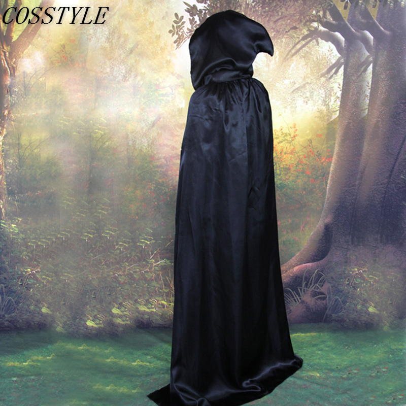Disfraces de Halloween S-XL para adultos disfraz de bruja niño negro/plata con capucha capa muerte vampiro Cosplay disfraces