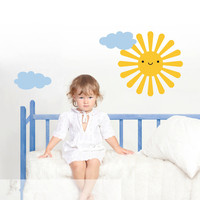 DSU Happy Sun Clouds Wall Stickers For Kids Room Cute Baby Wall Art Decals Vinilos Paredes Poster Vinyl Custom Color Wallpaper