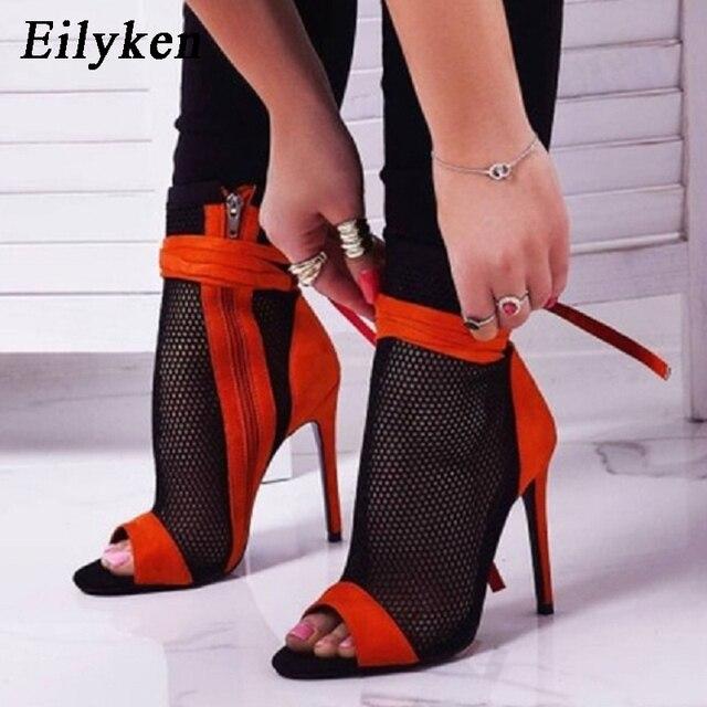 Eilyken 2019 New Sexy Women's High Heels Peep-toe Sandals Stiletto Sandals Summer Club Shoes Women's Party Boots and Sandals