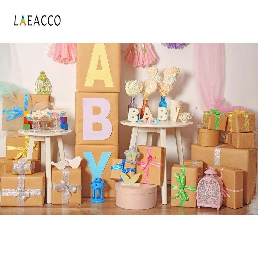 Laeacco Presentes da Festa de Aniversário de Fezes Do Bebê Recém-nascido Cena Interior Cenários Fotográficos Fotografia Fundos Para Estúdio de Fotografia