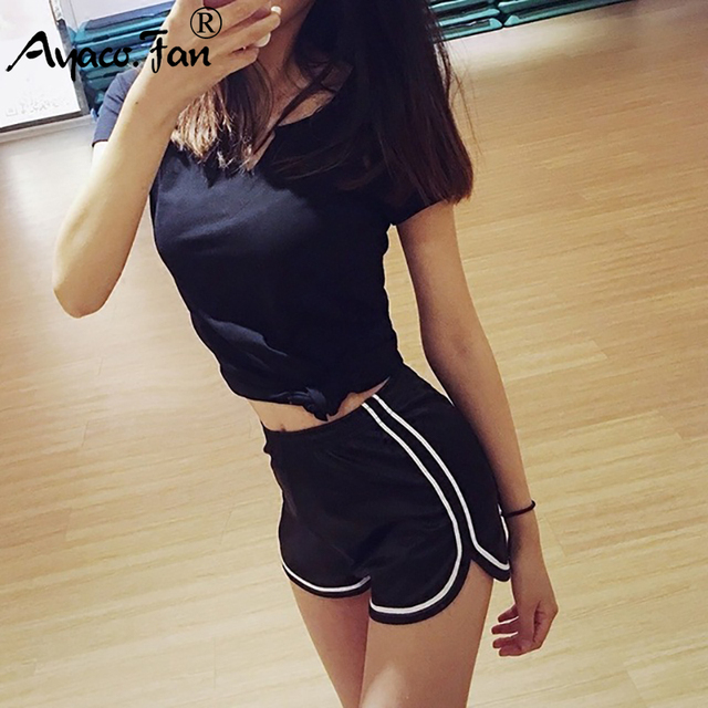 Women Sports Shorts Summer 2019 New Sexy Elastic High Waist Patchwork Skinny Hot Shorts Casual Lady Silvery Egde Short Pants