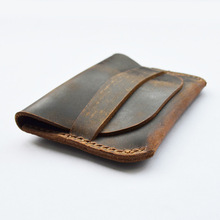 Mr.Tomato  brown genuine leather handmade coin pouch Purses wallet