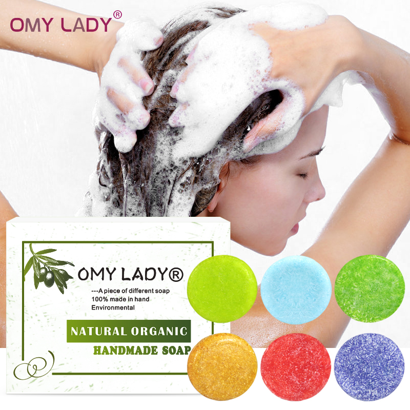 OMY LADY 100% Pure Natural Handmade Shampoo Soap Essential Oil For Dry Hair Oil Hair Cold Processed Anti-Dandruff Off Hair Care