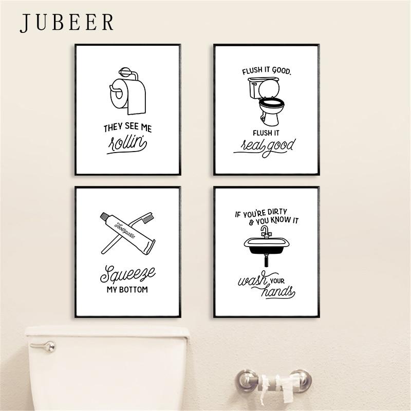 Komik tuvalet posteri banyo duvar sanatı dekoratif resim lavabo tuval boyama İskandinav tarzı siyah ve beyaz resimleri