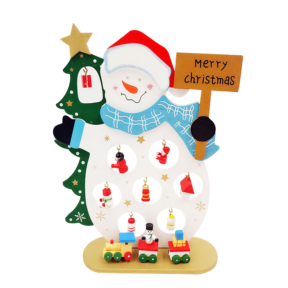Cute Merry Christmas Santa ClausSnowman Wooden Small Ornaments For Xmas Party Decoration New Year Lucky Lovely Landscape P0.2