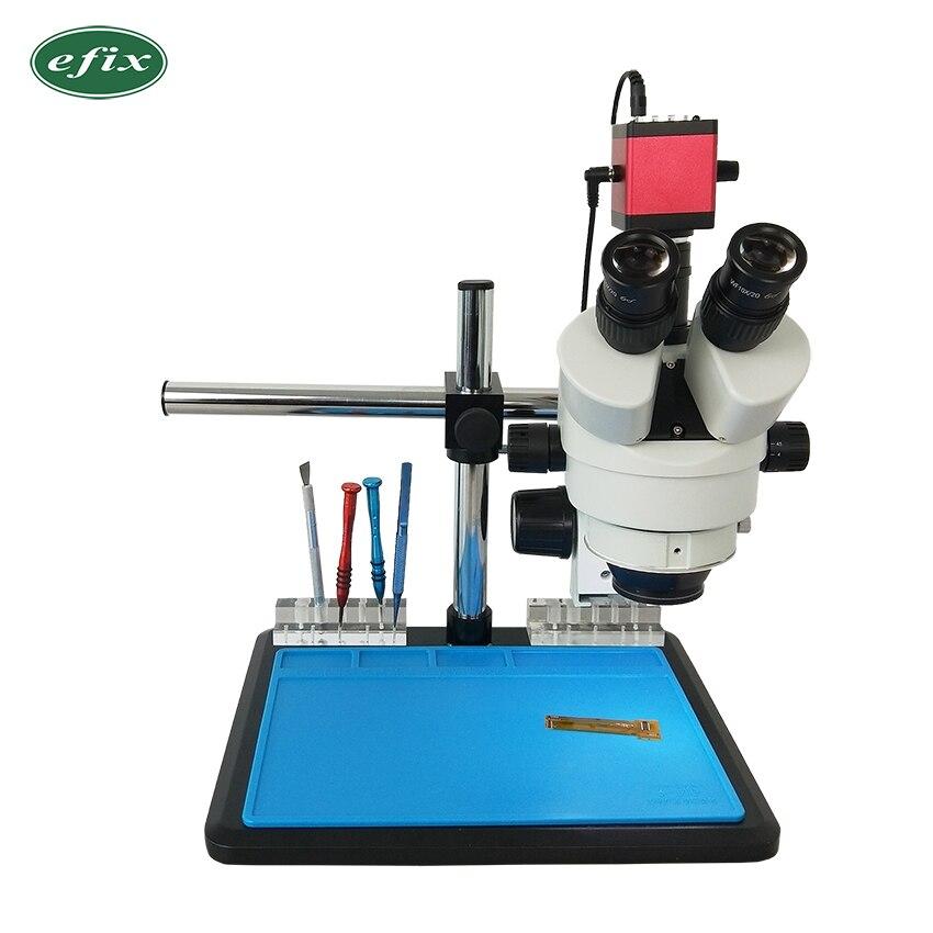 Efix 7-45X Zoom Continu Simul-Focal Trinoculaire Stéréo Microscope 13MP Microscope Caméra 56 Lumière pour la Réparation Mobile Téléphone Outil