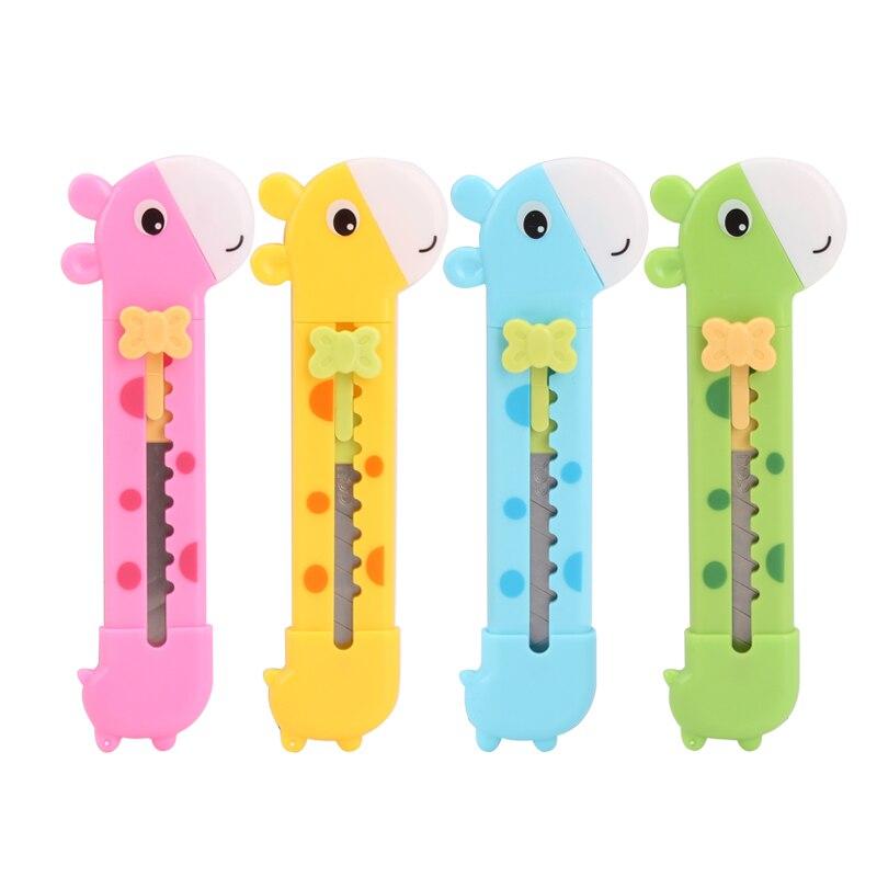 1 PC Kawaii Cutter Cute Giraffe Utility Knife Paper Cutter Cutting Razor Blade Office Stationery School Supplies