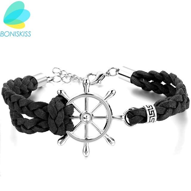 066e83204603 24 cm pirata ajustable estilo pu cuero timón pulseras para hombres mujeres  al por mayor brazalete