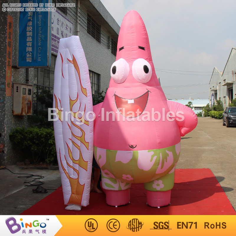 China manufacture inflatable Patrick Star with stakeboard 3m inflatable spongbob Patrick Star Cartoon Character for advertising