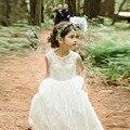 Уютный кружева девушки цветка ребенка линия аппликации белый длиной прекрасные платья торжества платья для свадьбы спинки