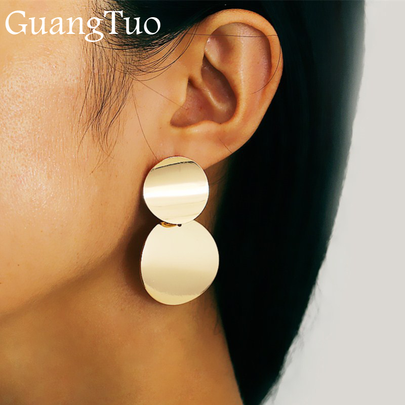 EK2136 New Punk Style Gold Color Double Metal Round Coin Dangle Earrings For Women Disc Earrings Exaggerated Earrings Jewelry