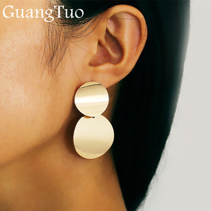 EK2136 New Punk Style Gold Color Double Metal Round Coin Dangle Earrings for Women Disc Earrings Exaggerated Earrings Jewelry(China)