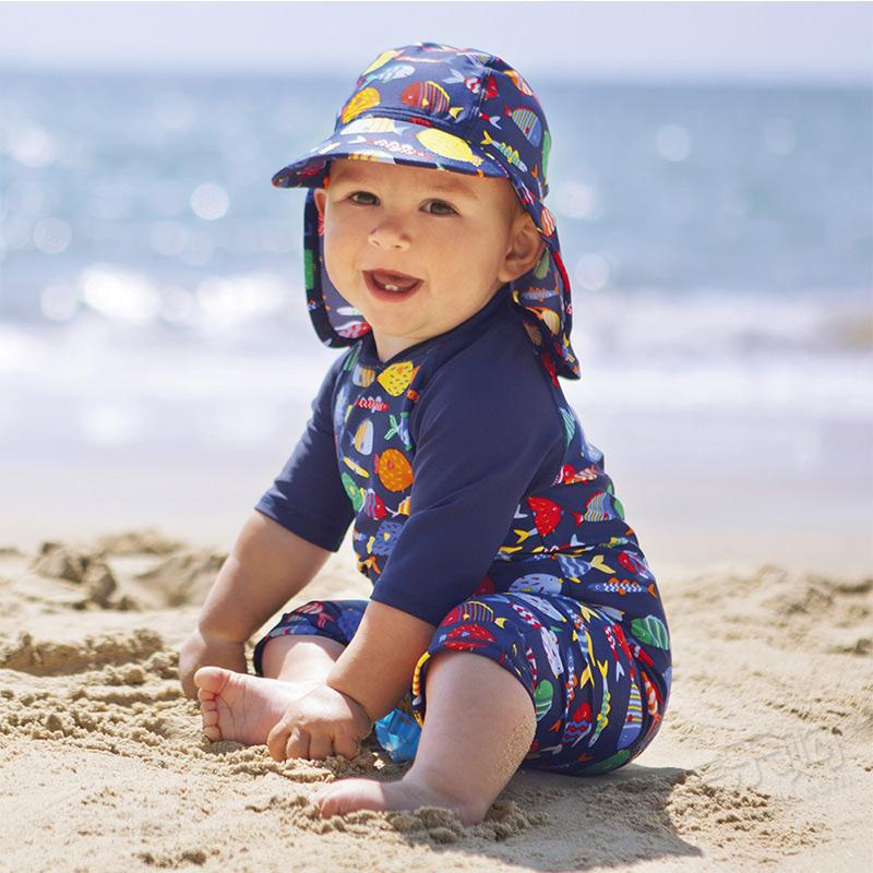 купить 18m, 24m baby one-piece swimsuit baby summer swimwear with fish pattern по цене 990.72 рублей