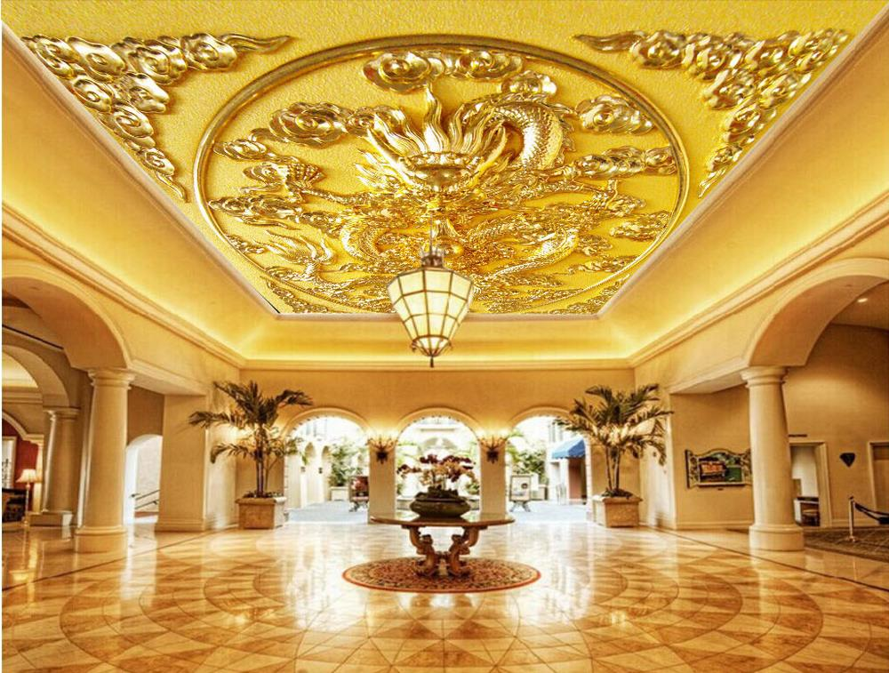 3d large hotel lobby ceiling mural wallpaper bedroom for Ceiling mural wallpaper