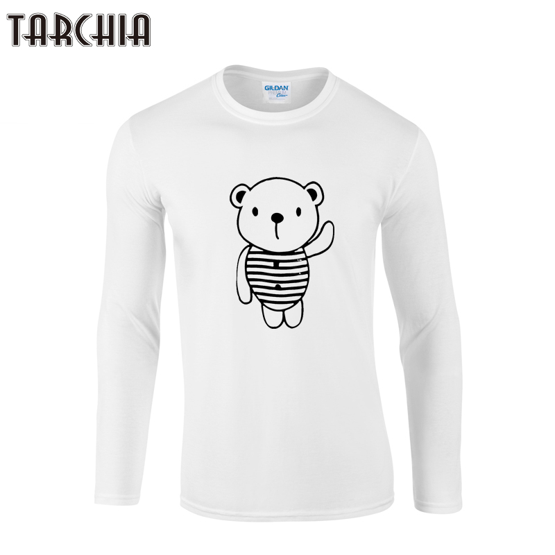 TARCHIA 2019 New Fashion Bear Printed Men Clothes Solid Color Long Sleeve Slim Fit T Shirt Men Cotton T-Shirt Casual T Shirts