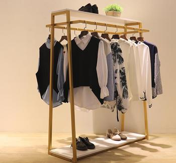 Clothing store double row Zhongdao display rack clothes display rack gold hanging rack iron art floor type clothes rack.