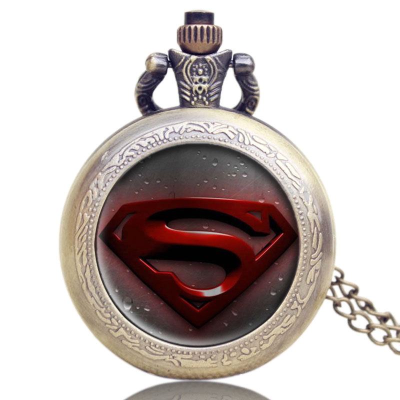 Bronze Quartz Pocket Watch Old Antique Superman Design High Quality With Necklace Chain For Gift Item Free Shipping antique retro bronze car truck pattern quartz pocket watch necklace pendant gift with chain for men and women gift
