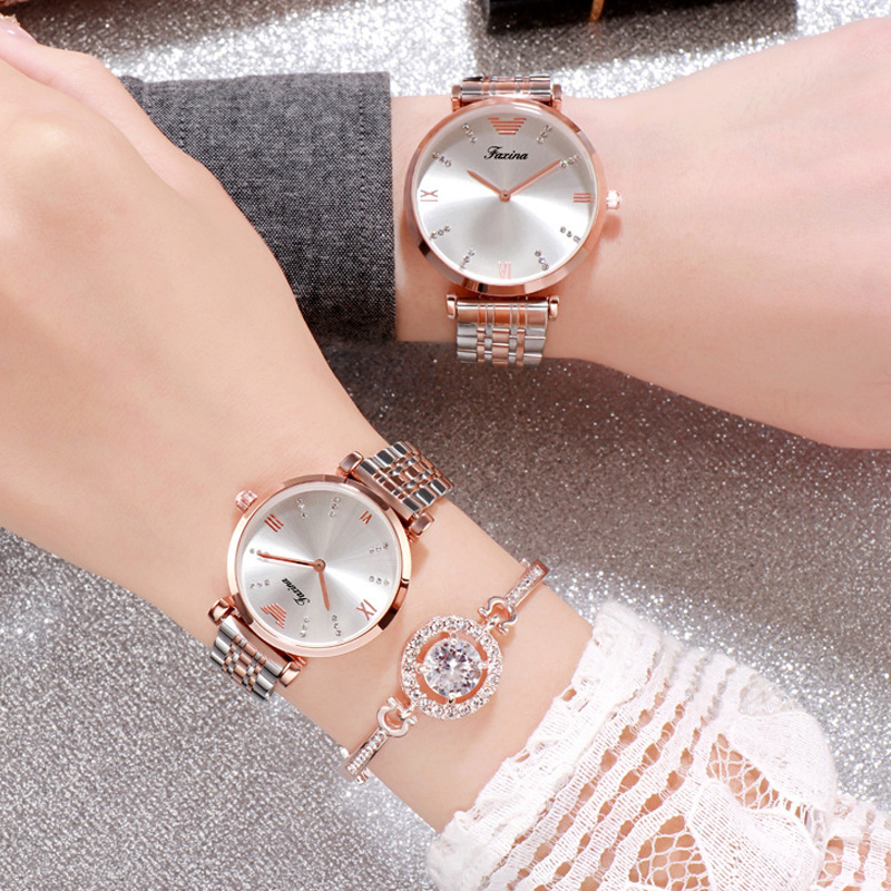 Luxury Casual Chic Diamond Quartz Watch For Women Chic Elegant High Quality Waterproof Roma Dial Gold Strap Ladies Wrist Watch