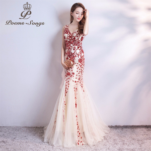 Image 2 - Poems Songs  sequins Mermaid  Evening Dress prom gowns Formal Party dress vestido de festa Elegant Vintage robe longue
