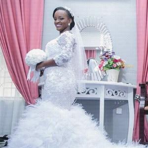 Image 3 - Vestido de novia de encaje de cola grande africano, sirena, de talla grande, novedad, 2020